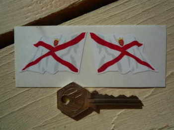"""Jersey Wavy Flag Stickers. 2"""" Pair."""