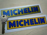 """Michelin Yellow & Blue Oblong Stickers. 4"""" or 6"""" Pair."""