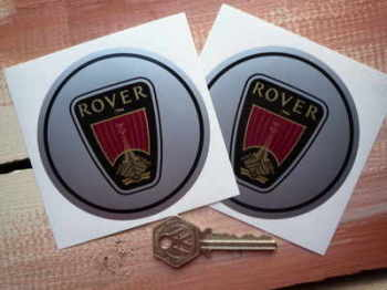 Rover Logo Circular Stickers. 80mm or 90mm Pair.