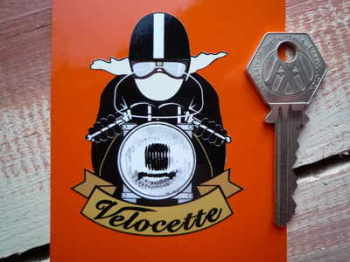 "Velocette Cafe Racer Sticker. Pudding Basin Helmet. 3""."