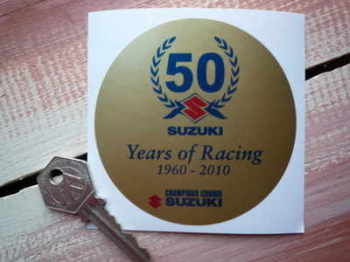 "Suzuki '50 Years of Racing' Sticker. 3.5""."
