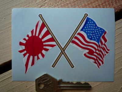 "Crossed Japanese Navy & USA Stars & Stripes Flags Sticker. 4""."