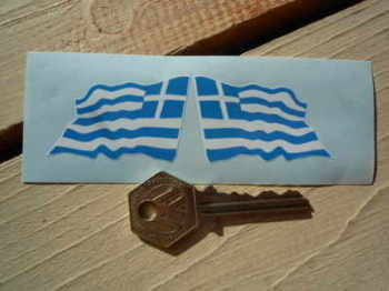 "Greece Wavy Flag Stickers. 2"" Pair."