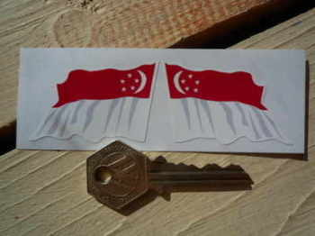 "Singapore Wavy Flag Stickers. 2"" Pair."