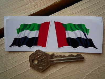 "United Arab Emirates Wavy Flag Stickers. 2"" Pair."