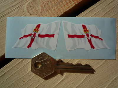 Northern Ireland Ulster Banner Wavy Flag Stickers. 2