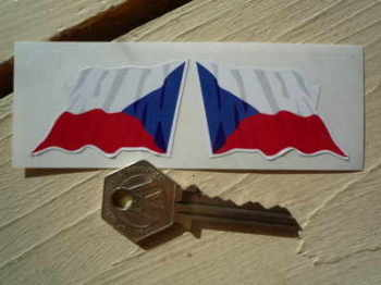 "Czech Republic Wavy Flags Stickers. 2"" Pair."