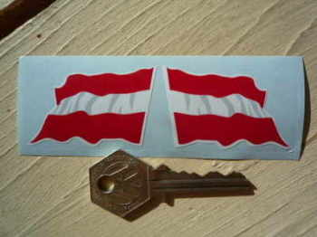 "Austrian Wavy Flag Stickers. 2"" Pair."