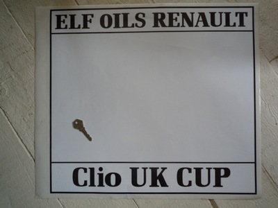 Elf Oils Renault. Clio UK Cup. Door Panel Stickers. 19.5