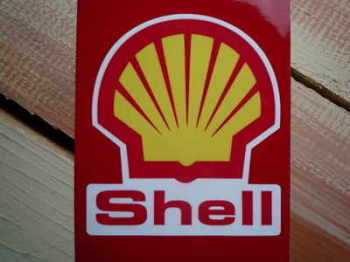 "Shell Modern Logo & Text Shaped Stickers. 4.5"" or 7"" Pair."