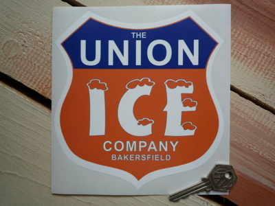 "Union 'Ice Company' Shield Sticker. 6""."