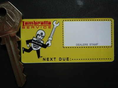 """Lambretta 'Official Service Agent' Sticker. 2.75""""."""