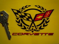 Corvette Crossed Flag & Garland Clear Sticker. 4