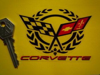 "Corvette Crossed Flag & Garland Clear Sticker. 4""."