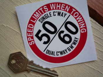 "Speed Limits When Towing Caravan/Trailer Sticker. 3""."