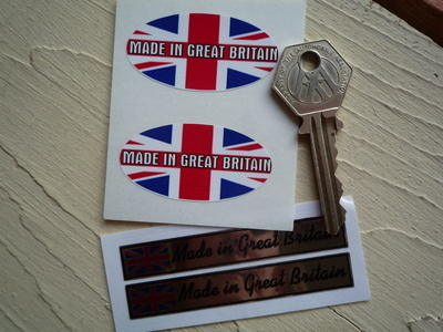 """Made in Great Britain Stickers. Set of 4. 2"""" & 3""""."""