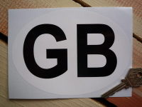 "GB Plain White & Black ID Plate Sticker. 3"", 6"" or 7""."