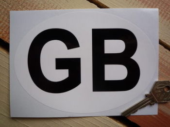 "GB Plain White & Black ID Plate Sticker. 3"", 6"" or 7""."