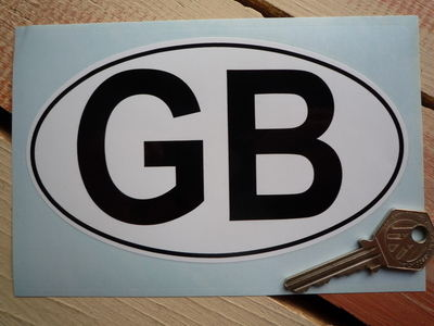 """GB Plain White with Black Outline ID Plate Sticker. 6""""."""