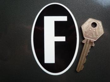 """F France Tall Oval ID Plate Sticker. 2""""."""