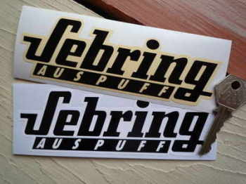 "Sebring Auspuff Black & White/Cream Stickers. 6"" Pair."