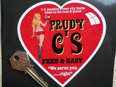 "'Prudy C's' Free & Easy Diner Sticker. 4.5""."