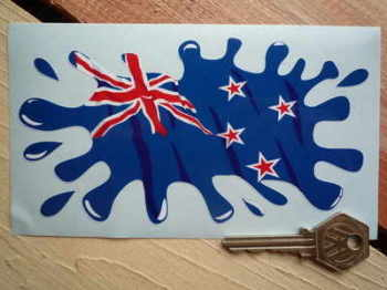 "New Zealand Splat Style Sticker. 6""."