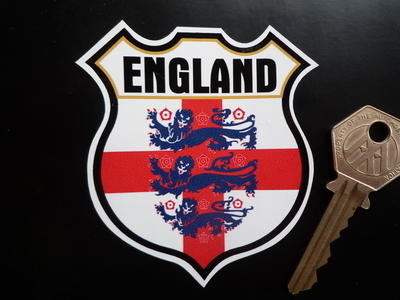 "England Three Lions Shield Sticker. 3"" or 5""."