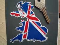 """Union Jack UK Map Sticker. 4"""" or 6""""."""