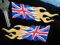 Union Jack Flaming Handed Stickers. 4