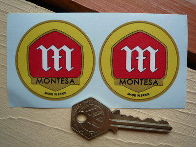 Montesa Made in Spain Circular Stickers. 42mm or 50mm Pair.