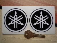 Yamaha Black & White Tuning Forks Circular Stickers. 3