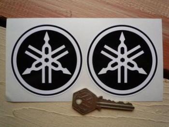 "Yamaha Black & White Tuning Forks Circular Stickers. 3"" or 4"" Pair."