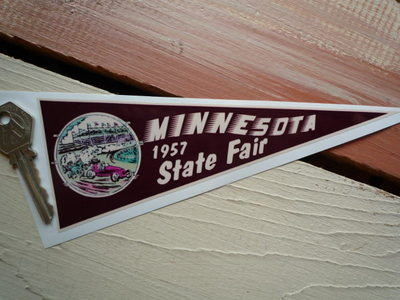 "Minnesota 1957 State Fair Travel Pennant Sticker. 7""."