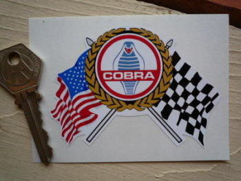 "AC Cobra Flags & Scroll Sticker. 4""."
