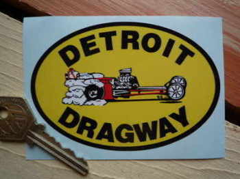 "Detroit Dragway Oval Sticker. 4""."