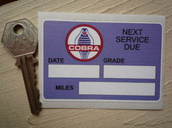"AC Cobra 'Next Service Due' Service Sticker. 3""."