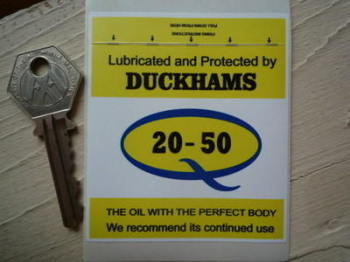 "Duckhams Q 20-50 'Lubricated & Protected By' Service Sticker. 2.75""."