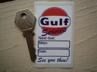 "Gulf 'See You Then!' Service Sticker. 2.75""."