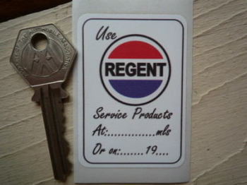 "Use Regent Products Service Sticker. 2.5""."