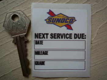"Sunoco Next Service Due Sticker. 2.25""."