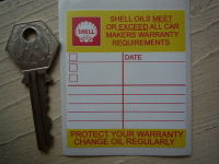 "Shell 'Protect Your Warranty' Service Sticker. 2.5""."