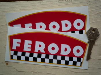 "Ferodo Disc Pad Shaped Chequered Stickers. 6"" Pair."