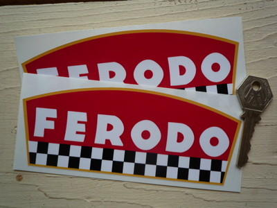 """Ferodo Disc Pad Shaped Chequered Stickers. 6"""" Pair."""