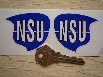 "NSU Blue & White Shaped Stickers. 2.25"" Pair."