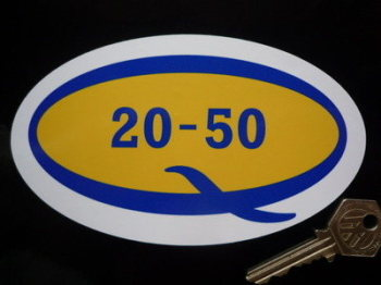 "Duckhams Q 20-50 Oil Oval Stickers. 6"" or 8"" Pair."