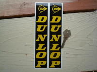 Dunlop Fork Slider Stickers. Yellow on Black. 8