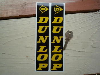 "Dunlop Fork Slider Stickers. Yellow on Black. 8"" Pair."