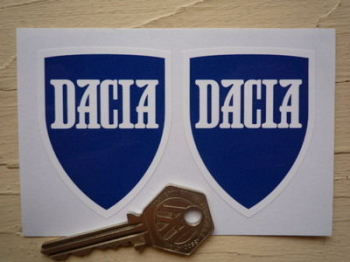 "Dacia Shield Shaped Stickers. 2"" Pair."