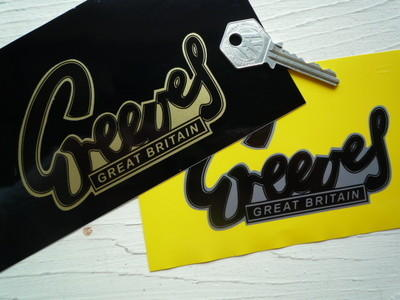 "Greeves Great Britain Stickers. 4"" Pair."
